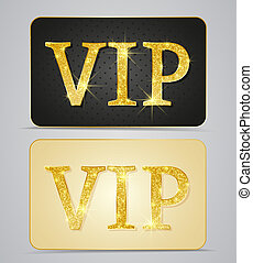 Golden two cards with text vip