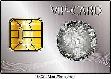 vip, cartão, com, um, dourado, globo