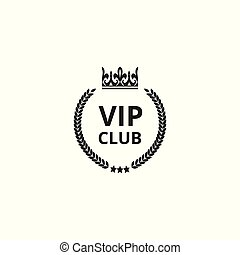 VIP club icon with crown silhouette and round wreath isolated on white background