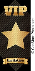 VIP club party premium invitation card flyer with star. Black and gold template. Vector illustration
