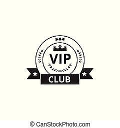 VIP club round badge with ribbon flag isolated on white background