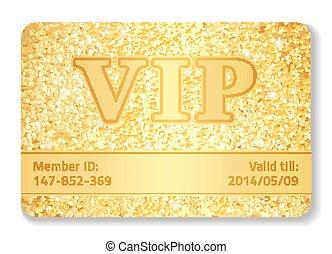 vip, club, tarjeta, compuesto, de, dorado, brilla