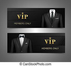 vip, complet, cartes, homme affaires, bannières, horizontal
