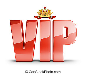 VIP concept - Shiny red lettering at the top of the crown...