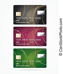 Vip Credit Plastic Cards Set. Vector