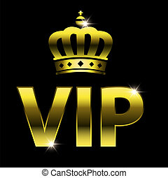 vip design (vip symbol, very important person sign) with crown. Vector illustration isolated on black background.