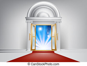 A door with a red carpet leading up to it and bright abstract blue light on the other side