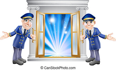 VIP doormen and entrance door - An illustration of two VIP...