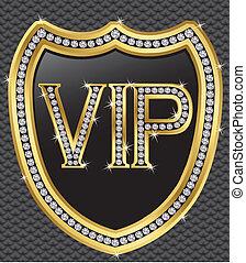 vip, doré, protection, bouclier