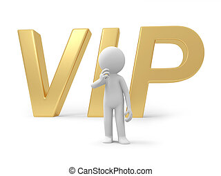 VIP - A 3d person thinking back to the VIP symbol