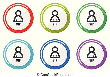 Vip flat vector web icon set, colorful round internet buttons in eps 10 isolated on white background