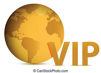 Vip gold globe illustration design