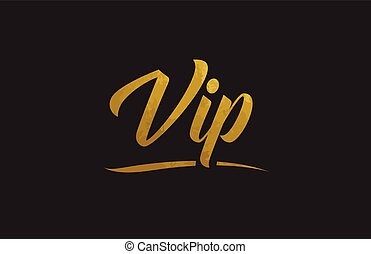 Vip gold word text illustration typography