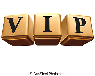 VIP - golden boxes with black letters over white background...
