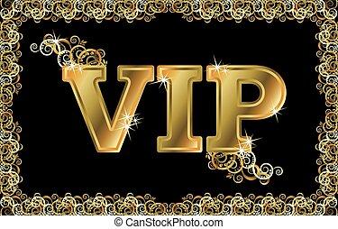 VIP golden card, vector illustratio