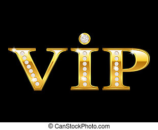 Vip card with golden letters and diamonds, vector illustration