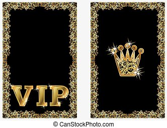 VIP golden crown banners, vector