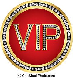 Vip golden icon with diamonds, vecto