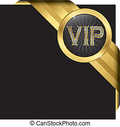 Vip golden label with diamonds and gold ribbons