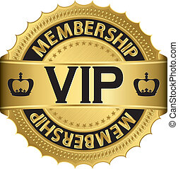 Vip golden label with ribbon, vector