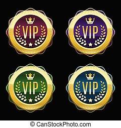 Vip golden labels set. Premium medals of different color. Vector illustration