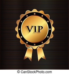VIP golden rosette with stars. Vector graphic design