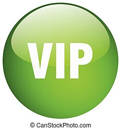 vip green round gel isolated push button