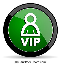 vip green web glossy icon with shadow on white background