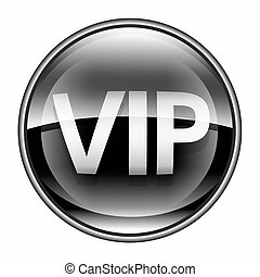 VIP icon black, isolated on white background.
