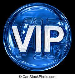 VIP icon blue, isolated on black background.