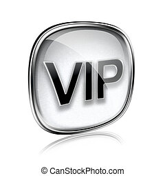 VIP icon grey glass, isolated on white background.