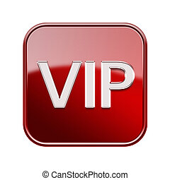 VIP icon red, isolated on white background