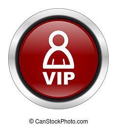 vip icon, red round button isolated on white background, web design illustration