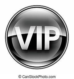 vip, icona, nero, isolato, bianco, fondo.