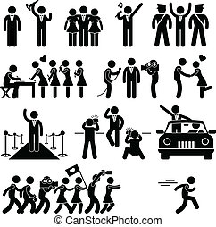 A set of pictogram representing idol, VIP, celebrity, and stars.