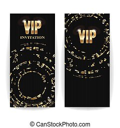 VIP Invitation Card Vector. Sequins Round Dots. Decorative Vector Background. Elegant Template Luxury Invitation.