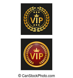Vip label with laurel wreath in two versions.