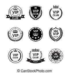 Vip labels and badges with ribbon and crown set vector illustrations isolated.