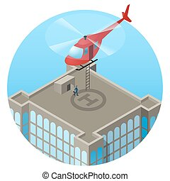 VIP, landing in helicopter on skyscraper roof - VIP, red...