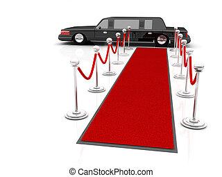 vip, limousine., ilustración, esperar, primero, alfombra roja