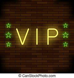 VIP Logo Neon Colorful Sign. Night City Banner