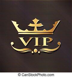 vip, logotipo, em, dourado, luxo, experiência., vetorial, projeto gráfico