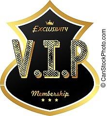 vip member badge - vector art illustration