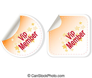 Vip Member vector Button Label set