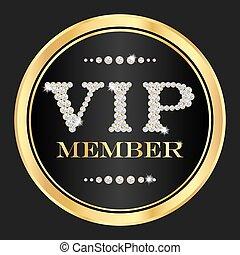 vip, miembro, badge., vip, compuesto, de, pequeño, diamantes
