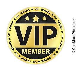 vip, miembro, dorado, etiqueta