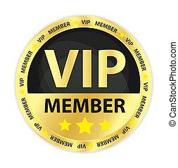vip, miembro, dorado, insignia