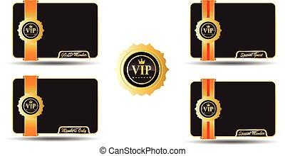 vip, miembro, dorado, tarjeta