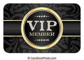 vip, miembro, insignia, en, negro, tarjeta, con, floral,...