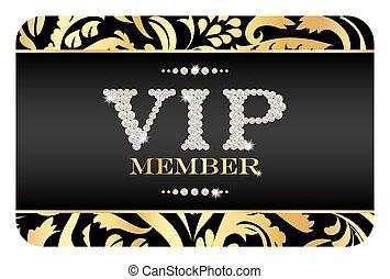 vip, miembro, tarjeta, con, dorado, floral, pattern., vip, compuesto, de, pequeño, diamantes